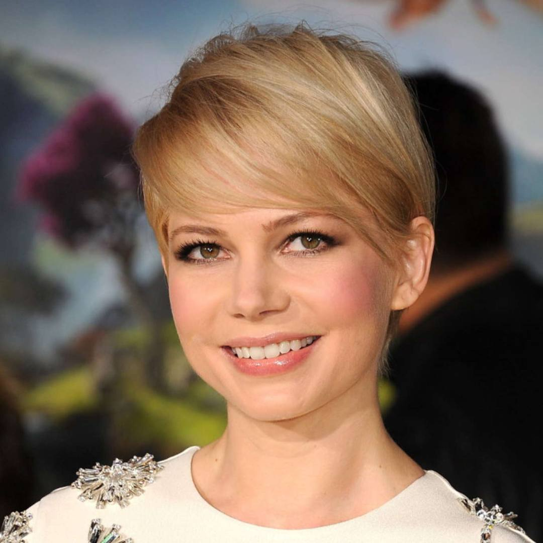cortes de cabello para cara redonda corte pixie Michelle Williams